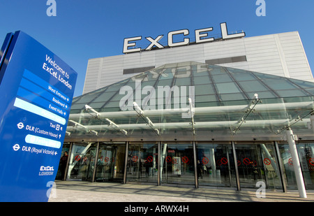 Exterior of west entrance to Excel Exhibition Centre Docklands London U K - Stock Photo