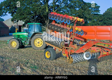 Vaderstad Carrier 500 Disc Harrow and Tractor - Stock Photo