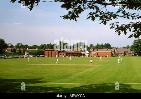 Cheshire Alderley Edge village cricket match in progress - Stock Photo