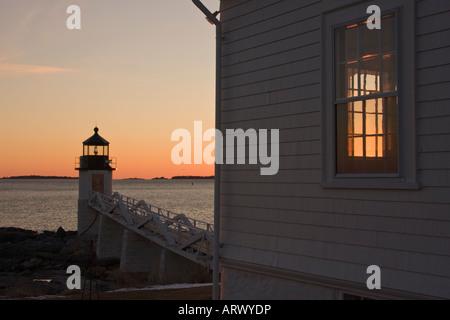 Marshall Point Lighthouse, Port Clyde near Rockland Maine - Stock Photo
