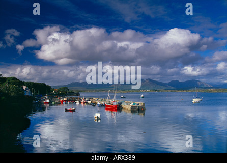 Boats in the harbour Roundstone Connemara County Galway Ireland - Stock Photo