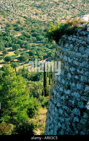greece ionian cephallonia view of the ramparts of saint george s castle - Stock Photo