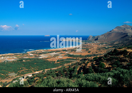 greece crete west coast a view of the beach and bay at falasarna - Stock Photo