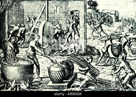 Making sugar at Antilles West Indies. End XVII century. Antique illustration. 1930 - Stock Photo