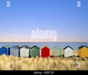 GB - SUFFOLK: Colourful beach huts at Southwold - Stock Photo