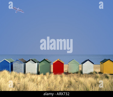 GB - SUFFOLK: Traditional beach huts at Southwold - Stock Photo