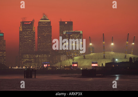 Canary Wharf & o2 Dome - London - Stock Photo