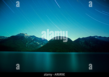 Stars over Ross Lake, North Cascades, Washington State - Stock Photo