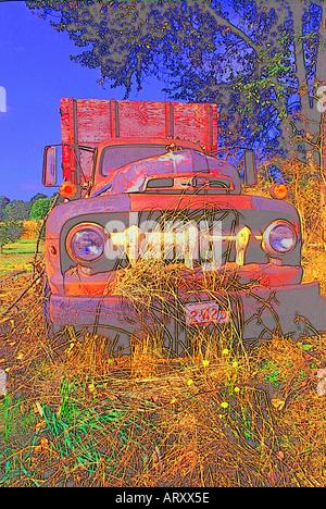 computer graphic impressionistic old farm truck - Stock Photo