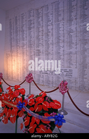U.S.S. Arizona Memorial Pearl Harbor commemorates sailors & marines lost during japanese attack 1941 Memorial spans - Stock Photo