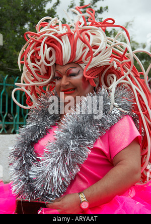 Drag queen at carnival on Gran Canaria in the Canary islands. - Stock Photo