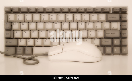 Computer keyboard with mouse - Stock Photo