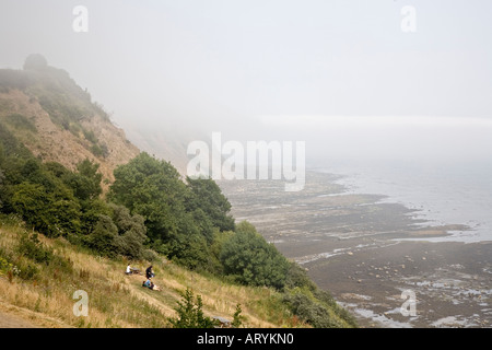 Sea mist rolling in over Robin Hoods Bay on North Yorkshire coast UK in July - Stock Photo