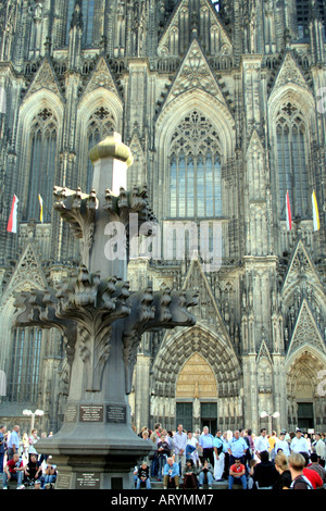 crowd of people in front of the Cologne Cathedral North Rhine Westphalia Germany - Stock Photo