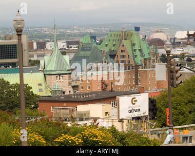 A view over Quebec City from the Fortifications de Quebec, Canada - Stock Photo
