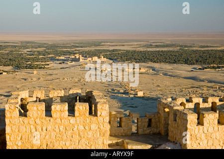 Ancient city of Tadmor, from the Arab Castle, Qalaat Ibn Maan, overlooks Palmyra, Central Syria, Middle East. DSC - Stock Photo