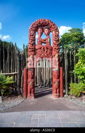 New Zealand Rotorua Carved Maori Gateway at Whakarewarewa Thermal Reserve North Island - Stock Photo