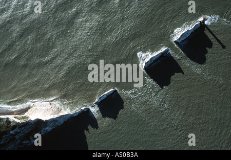 Aerial view of The Needles Isle of Wight - Stock Photo