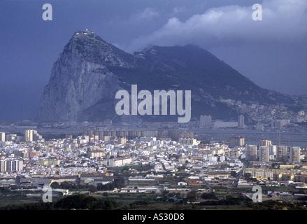Gibraltar, Gibraltaransicht von Spanien - Stock Photo