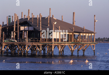 Walvis Bay Namibia The Raft restaurant at the edge of the lagoon is a superb place to enjoy delicious seafood cuisine - Stock Photo