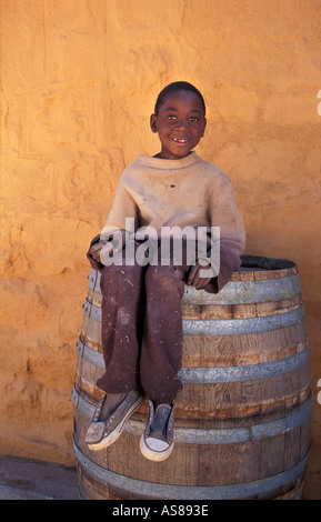Portrait of a local boy Fulmer Namibgrens nr Klein Aub on the back rd from Rehoboth to Sesriem Enroute to the dunes - Stock Photo