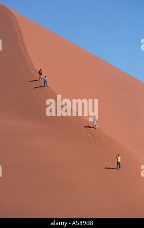 Dune 45 travellers climbing the sand dune Namib Naukluft National Park Namibia - Stock Photo