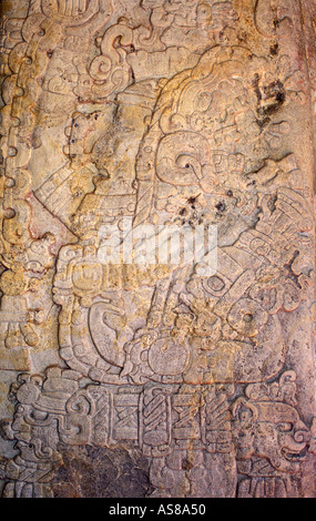 Carved stone stelae from the Classic Maya period on display at Tikal El Peten Guatemala - Stock Photo