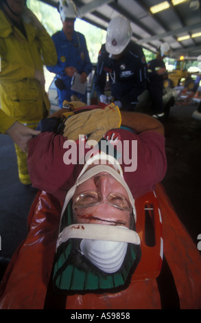 Made up victim for road traffic industry first aid rescue accident exersise 2892 - Stock Photo