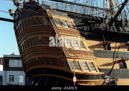 HMS Victory First Rate ship of the line Aft decks - Stock Photo