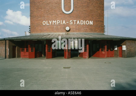 Railway station at the Olympia Stadium in Berlin Germany - Stock Photo