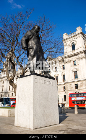 prime minister Sir winston churchill westminster square - Stock Photo