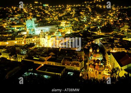 La Basilica and colonial buildings of Guanajuato as viewed from the El Pipila monument Guanajuato Mexico