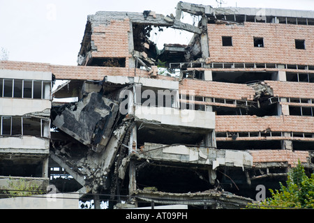 The remains of the former government department for defence which was destroyed in 1999 by NATO bombing in Belgrade - Stock Photo