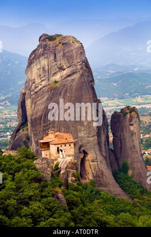 The monastery Moni Agias Varvaras Rousanou in the Meteora region of Greece - Stock Photo