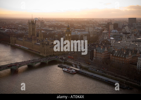 Aerial view of River Thames with Westminster Bridge, the Houses of Parliament and Big Ben taken from the London - Stock Photo