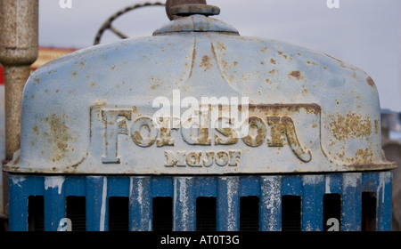 Fordson tractor unit front grille face old rusty vintage - Stock Photo