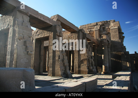 The main building of the Kom Ombo temple dedicated to Horus the Elder (Haroeris) and Sobek - Stock Photo