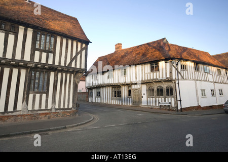 junction of 'Lady Street' and 'Water Street' in Lavenham, Suffolk, UK - Stock Photo
