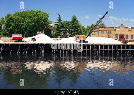 "Old cranes at Construction Store by the ""Riachuelo"" River, at ""La Boca"" neighborhood, ,Buenos Aires, Argentina - Stock Photo"