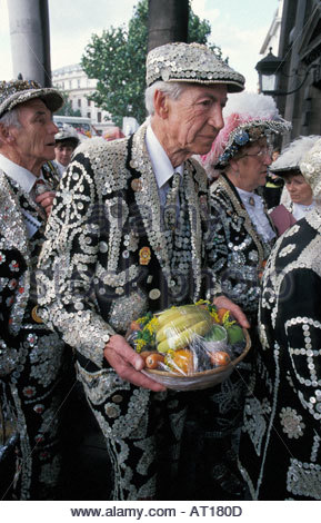 Pearly Kings and Queens arrive at St. Martin in the Fields church for their Harvest Festival Service, UK - Stock Photo