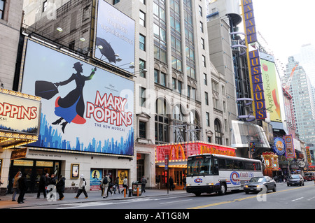 The south side of West 42nd Street in Manhattan. - Stock Photo