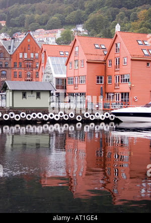 View of the Bryggen, Bergen from the Torget fish market - Stock Photo