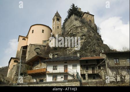 Europe, Italy, Valle d'Aosta, ST, PIERRE: Castello di St, Pierre / Winter - Stock Photo