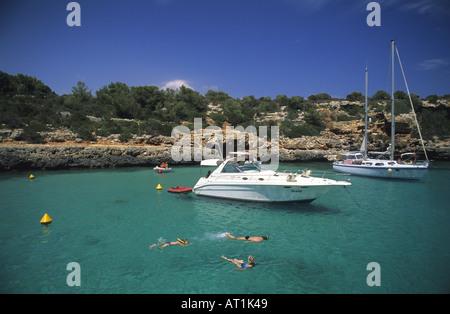 Beach of Sa Nau Felanitx Majorca The Balearic Islands Spain - Stock Photo