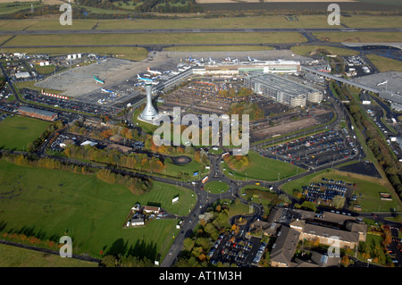 AERIAL PHOTOGRAPHY OVER EDINBURGH AIRPORT AND CONTROL TOWER - Stock Photo