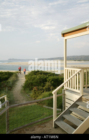 Holiday homes next to the sea in Tuross Head NSW Australia - Stock Photo