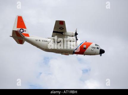 u s coast guard C 130 Hercules long range surveillance aircraft - Stock Photo