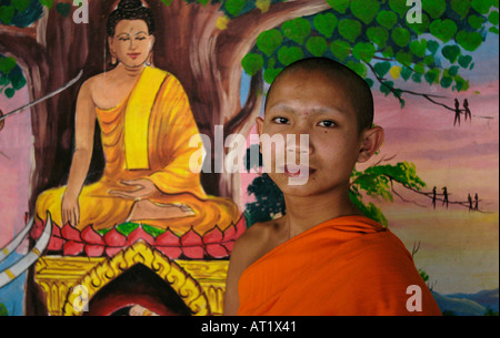 Novice in front of Buddha painting at Wat Sok Pa Laung, Vientiane, Laos - Stock Photo