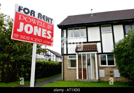 Modern British house with mock tudor upper facade FOR RENT in Bridgend South Wales UK - Stock Photo