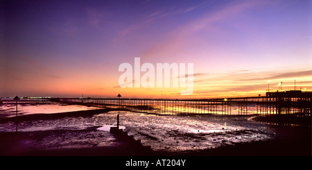 Southend Pier Southend on Sea Essex at sunset - Stock Photo